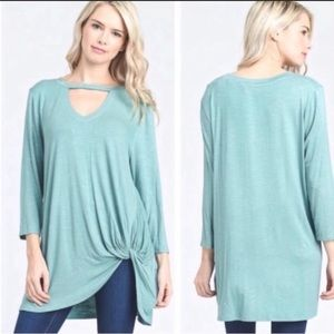 Tops - Sage Knotted Keyhole Tunic